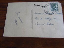 Carte Vue De BONEFFE (le Village) (1 Coin Enlevé) Oblitérée Namur Et GRIFFE De BONEFFE - Storia Postale