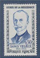 Léonce Vieljeux Héros De La Résistance, N°1251a Neuf Trace Charnière R De Française Lié Au A - Variedades: 1960-69 Nuevos