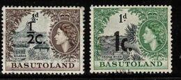 BASUTOLAND Scott # 61-2 Used - QEII With Surcharge - 1933-1964 Colonia Britannica