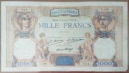 Billet De 1000 Francs CÉRÈS Et MERCURE 9 Avril 1927 FRANCE U.149 - 1 000 F 1927-1940 ''Cérès Et Mercure''