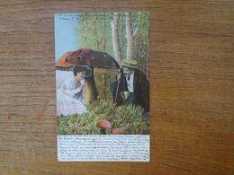 """Ancienne Carte Assez Rare De 1904 , Couple Autour D'un Champignon """""""" Carte écrite D'autriche Beau Timbre Avec Surchage """" - Parejas"""