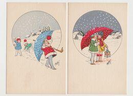 2 Jolies Cartes Fantaisie Signées F.Maybon / Fillettes Sous Un Grand Parapluie .Flocons De Neige - Other Illustrators