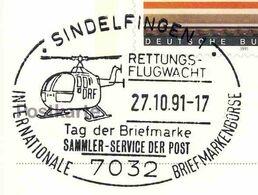 05  Hélicoptère Pour Aide Médicale Urgente: Oblit. Temp. D'Allemagne, 1991 –  Rescue Helicopter, Red Cross, Croix Rouge - Elicotteri