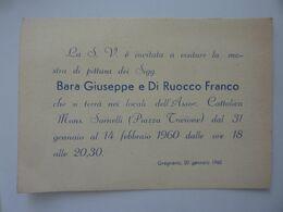 """Cartoncino Invito """"ASSOCIAZIONE CATTOLICA MONS. SARNELLI GRAGNANO MOSTRA DI PITTURA"""" Anno 1960 - Other"""