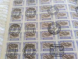 Feuille Complète Zaragoza Semena 1945 Peu Commun Vignettes? Candillas? - Feuilles Complètes