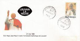Enveloppe 2166 S.S. Pape Jean-Paul II Oblitération Visite L'université Catholique De Louvain Louvain-la-Neuve - België