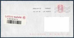 Enveloppe Avec Timbre Adhésif Ciappa Pour Lettre Suivie 20g Et Vignette Code Barre Du 13-10-18 - France