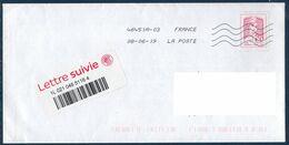 Enveloppe Avec Timbre Adhésif Ciappa Pour Lettre Suivie 20g Et Vignette Code Barre Du 08-06-19 - France