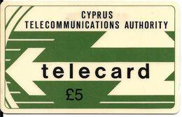 CARTE-MAGNETIQUE-CHYPRE-5£-GENERIQUE-VERTE-TBE/RARE - Cyprus