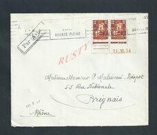 LETTRE SUR PAIRE DE TIMBRES D ALGÉRIE GRIFFE PAR AVION DE 1954 POUR BRIGNAIS RHÔNE : - Briefe U. Dokumente