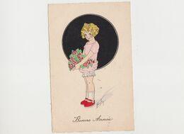 Carte Fantaisie Signée F. Maybon/ Fillette Avec Un Bouquet De Roses / Bonne Année - Other Illustrators