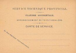 2 Scans Carte De Service Service Technique Provincial Flandre Occidentale Arrondissement De Thielt Roulers - Bélgica
