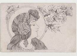 Supplément De La Broderie Illustrée / Visage De Femme Dessiné De Profil. Art Nouveau Style Mucha - Illustrators & Photographers