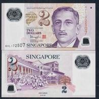 SINGAPORE P46m 2 DOLLARS ( 2020 )  With 3 Stars On Back UNC. - Singapore