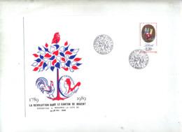 Lettre Cachet Mandres Revolution Dans Canton Theme Coq - Cachets Commémoratifs