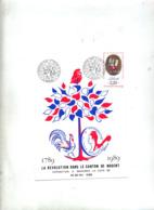 Carte Cachet Mandres Revolution Dans Canton Theme Coq - Cachets Commémoratifs