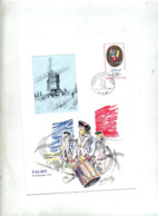Souvenir Cachet Valmy Bicentenaire Revolution Theme Moulin - Cachets Commémoratifs