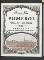 Etiquette De Vin  - Pomerol  -  1952 - Bordeaux