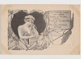 Jolie Carte Fantaisie Signée M.Farini N.Y. / Style Art Nouveau / Jeune Femme Au Téléphone - Other Illustrators