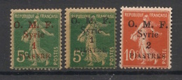 Syrie - 1920 - N°Yv. 34 -35 - 36 - Semeuse OMF 3 Valeurs - Neuf Luxe ** / MNH / Postfrisch - Syrien (1919-1945)