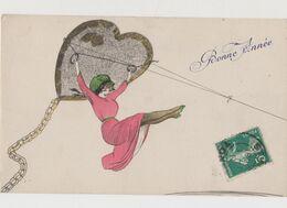 Carte Fantaisie . Illustrateur à Identifier ( X.Sager ? ) / Jeune Femme Accrochée à Un Cerf Volant / Bonne Année - Illustrators & Photographers
