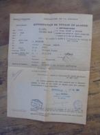 AUTORISATION DE VOYAGE EN ALGERIE 1957 Tampon Sureté Nationale - Documents