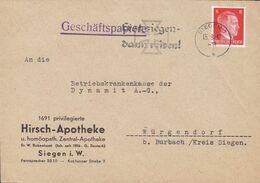 Deutsches Reich HIRSCH-APOTHEKE U. Homöopath. Slogan 'Erst Siegen, Dann Reisen! ' SIEGEN 1942 Cover Brief Hitler Stamp - Covers & Documents