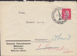 Deutsches Reich DEUTSCHE HOLZMEHLWERKE Graf & Kübler MÜHLACKER Württenberg 1942 Cover Brief Hitler Stamp - Covers & Documents