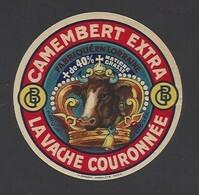 Etiquette  Fromage  Camembert -  La Vache Couronnée -   GB  - Fabriqué En Lorraine - Cheese