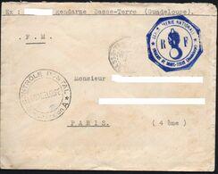 Lettre En Franchise De La Gendarmerie De Basse Terre (Guadeloupe) Avec Contrôle Postal - Francia
