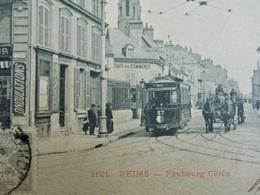 FRANCE - MARNE (51) REIMS Tramway Sur Le Faubourg Cèrès - Devanture Magasin De Coiffure - Belle Animation - Reims