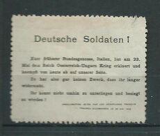 VIGNETTE PATRIOTIQUE DELANDRE -Deutsche Soldaten ! Propagande  WWI WW1 Cinderella Poster Stamp 1914 1918 - Militair