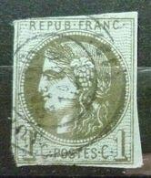 BORDEAUX N°39 B 1c Olive Oblitéré Cachet à Date - 1870 Emission De Bordeaux