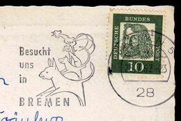 Germany Bremen 1962 / Besucht Uns In Bremen / Rooster, Cat, Dog, Donkey / Machine Stamp, Flamme - BRD