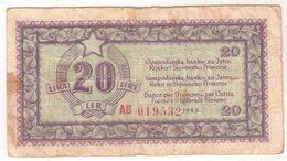 5921   20  LIRE  ISTRA  SLOVENSKO PRIMORJE    ISTRIA FIUME LITTORALE SLOVENO 1945 - Slovenië