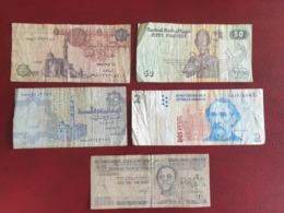 Lot De 5 Billets Circulés D'Ethiopie, Argentine Et Egypte - Aethiopien