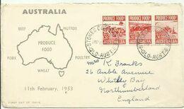 AUSTRALIA 1953 FOOD  FDC - Lettres & Documents