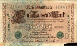 Tapp 1)  2  Billets  > Allemagne >21 /4/1910 / 1000 Mark  Sceaux Et  Numéros Vert à Suivre 743 B 744 B/ Neuf/ - 1000 Mark