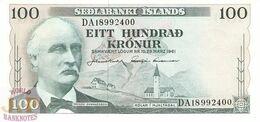 ICELAND 100 KRONUR 1961 PICK 44a AUNC - IJsland