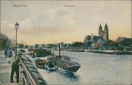 Magdeburg Elbe Partie, Anlegestelle Schiffe, Blick Auf Stadt & Fluss 1910 - Germany