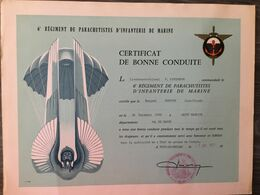 MONT DE MARSAN - 6e REGIMENT DE PARACHUTISTES D'INFANTERIE DE MARINE - Certificat De Bonne Conduite - Mont De Marsan