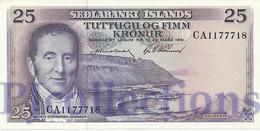 ICELAND 25 KRONUR 1961 PICK 43 UNC - IJsland
