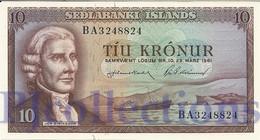 ICELAND 10 KRONUR 1961 PICK 42 UNC - Islanda