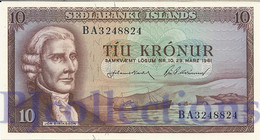 ICELAND 10 KRONUR 1961 PICK 42 UNC - IJsland