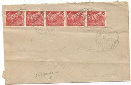 MERCURE 30C POSTES BANDE DE 5 LETTRE C. PERLE MINZAC DORDOGNE 1945 - 1938-42 Mercure