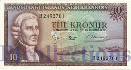 ICELAND 10 KRONUR 1957 PICK 38a UNC - IJsland