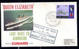 GIBRALTAR   Enveloppe Cover Paquebot 13 11 1968 Queen Elizabeth  Cunard - Bateaux