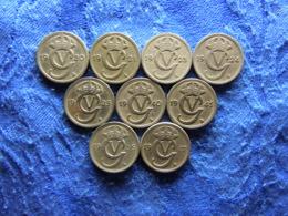 SWEDEN 10 ÖRE 1920, 1921, 1923-1925, 1940, 1941, 1946, 1947, KM795 (9) - Sweden