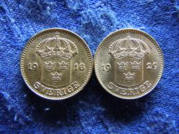 SWEDEN 25 ÖRE 1916 XF/AU, 1929 UNC Scratched, KM785 - Sweden
