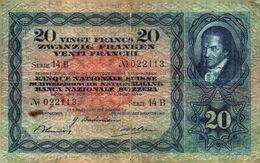 Tapp 1) Billet  > Suisse >  15/08/1940 Série 14 B  / 20 Francs (légère Coupure à La Pliure Du Centre ) - Switzerland
